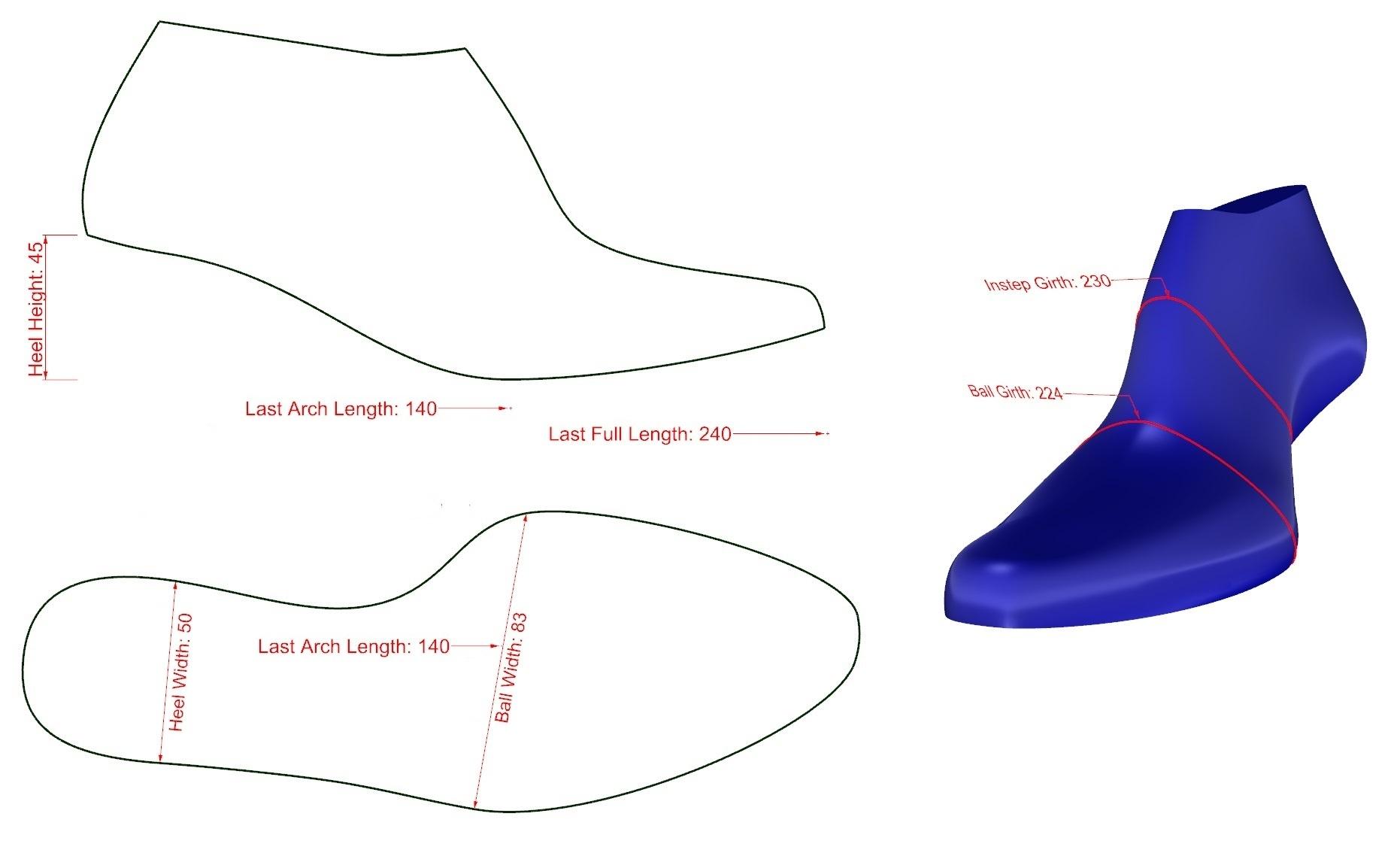 Custom Shoe Lasts Measurements