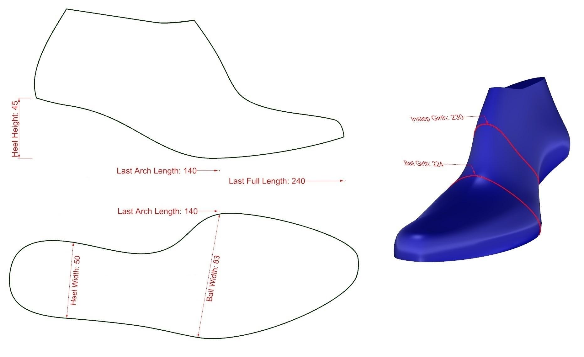 Shoe Last Measurements
